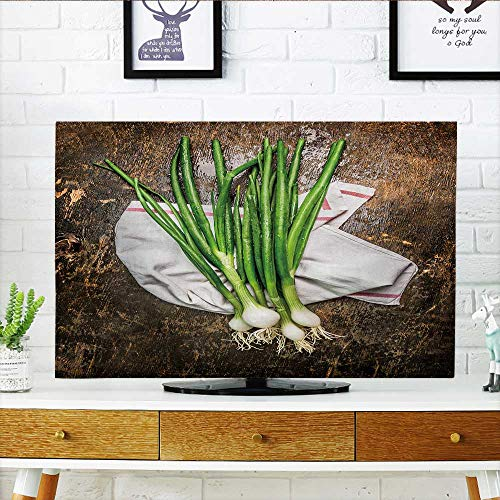 Philiphome Protect Your TV Green Onions Bunch on Rustic Wooden Background top View Protect Your TV W32 x H51 INCH/TV (Onion Wall Mounted Outdoor Light)