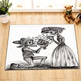 LB Sugar Skulls Bath Mat Flower for Love Mexican Style Bathroom Mat Non Slip Soft Flannel 16X24 inch