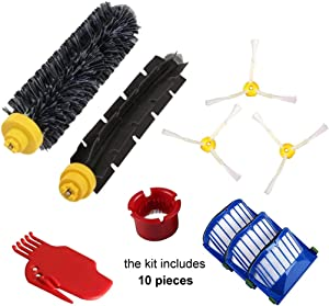 Youdepot Vacuum Cleaner Replacement Part Kit for Irobot Roomba 600 610 620 650 Series Includes 3 Pack Filter, Side Brush, and 1 Pack Bristle Brush and Flexible Beater Brush, 1 Pack Cleaning Tool