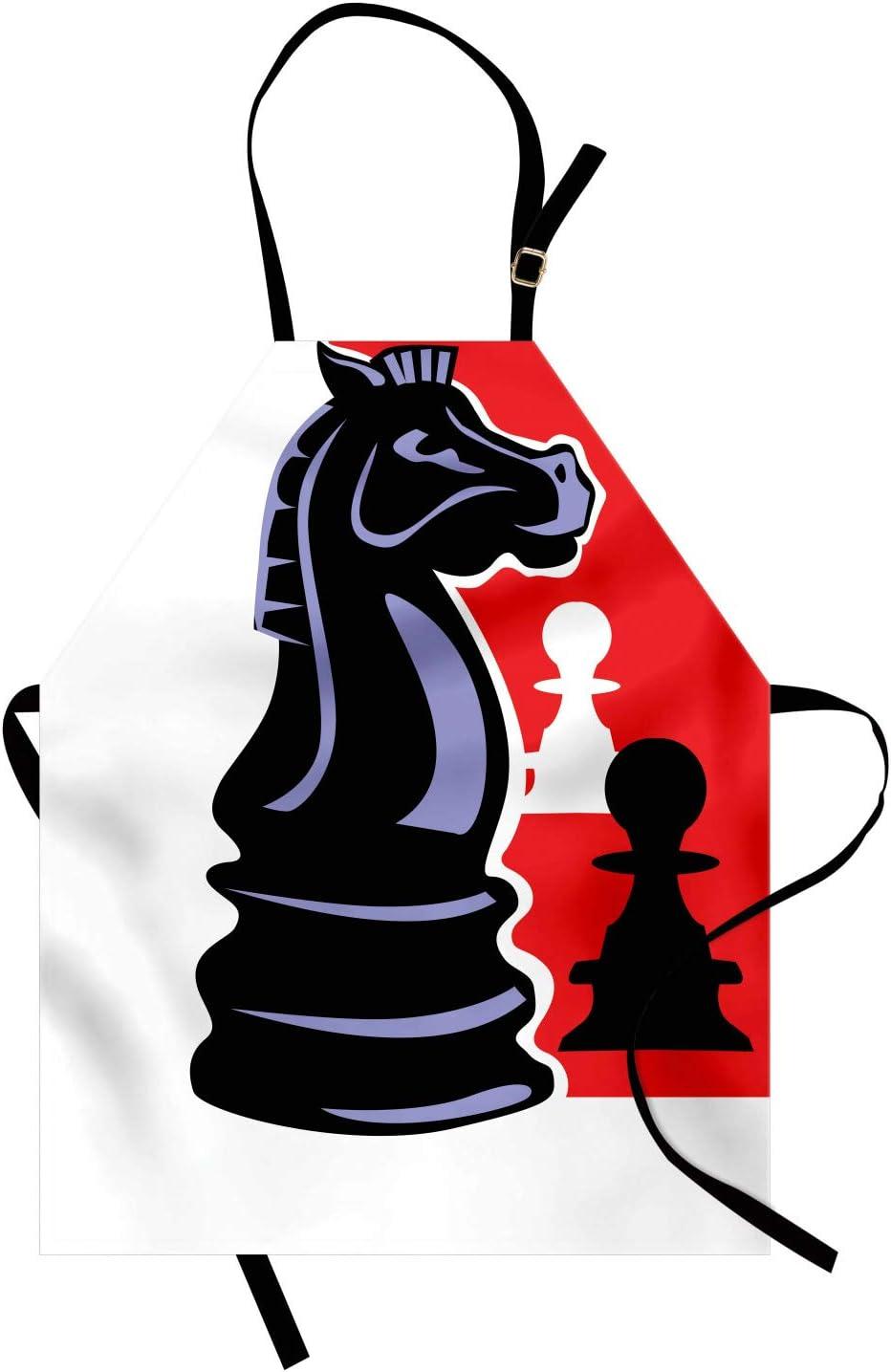 ABAKUHAUS Juego de Mesa Delantal de Cocina, Peón de ajedrez y Knight, Altura Ajustable Lavable Sus Colores No Destiñen, Gris carbón Multicolor: Amazon.es: Hogar
