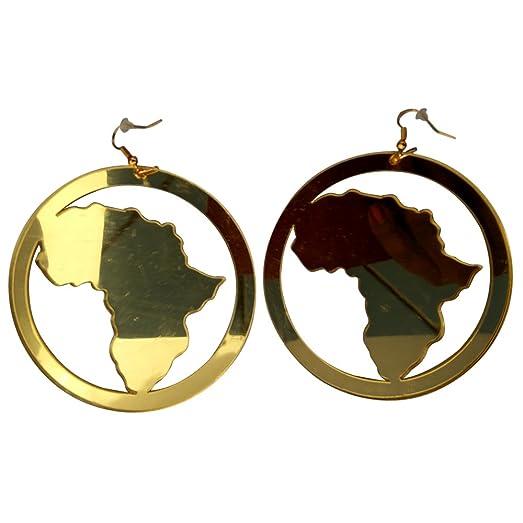Amazoncom Hoop Africa Map Earrings Gold Mirror Style Earring