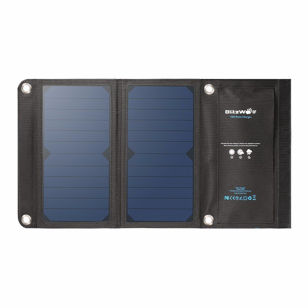BlitzWolf 15W Solar Charger Portable Dual USB Port for iPhone X 8 Plus 7 6 6s Plus, Samsung Galaxy S8 S7 S6 Edge, Android Powered Foldable Panel Water Resistant High-Efficiency SunPower Charger by BlitzWolf (Image #2)
