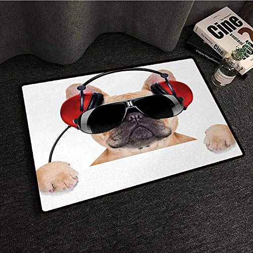 DuckBaby Front Door Mat Large Outdoor Indoor Popstar Party Dj Bulldog with Headphones Listening to Music Behind White Banner Country Home Decor W16 xL24