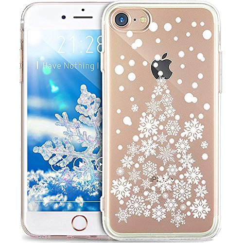 iPhone 6S Plus Case,iPhone 6 Plus Case,ikasus Ultra Thin Christmas Snowflake Soft Silicone Rubber Bumper Case,Crystal Clear Soft Floral Silicone Back Cover for iPhone 6 Plus/iPhone 6S Plus 5.5,#2