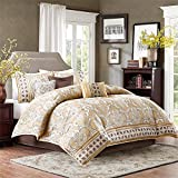 7 Pieces Gold Jacquard Pattern Queen Paisley Printed Comforter Set, Blue Floral Adult Bedding Master Bedroom Casual Transitional Gorgeous Mandala Damask Colorful Contemporary, Polyester