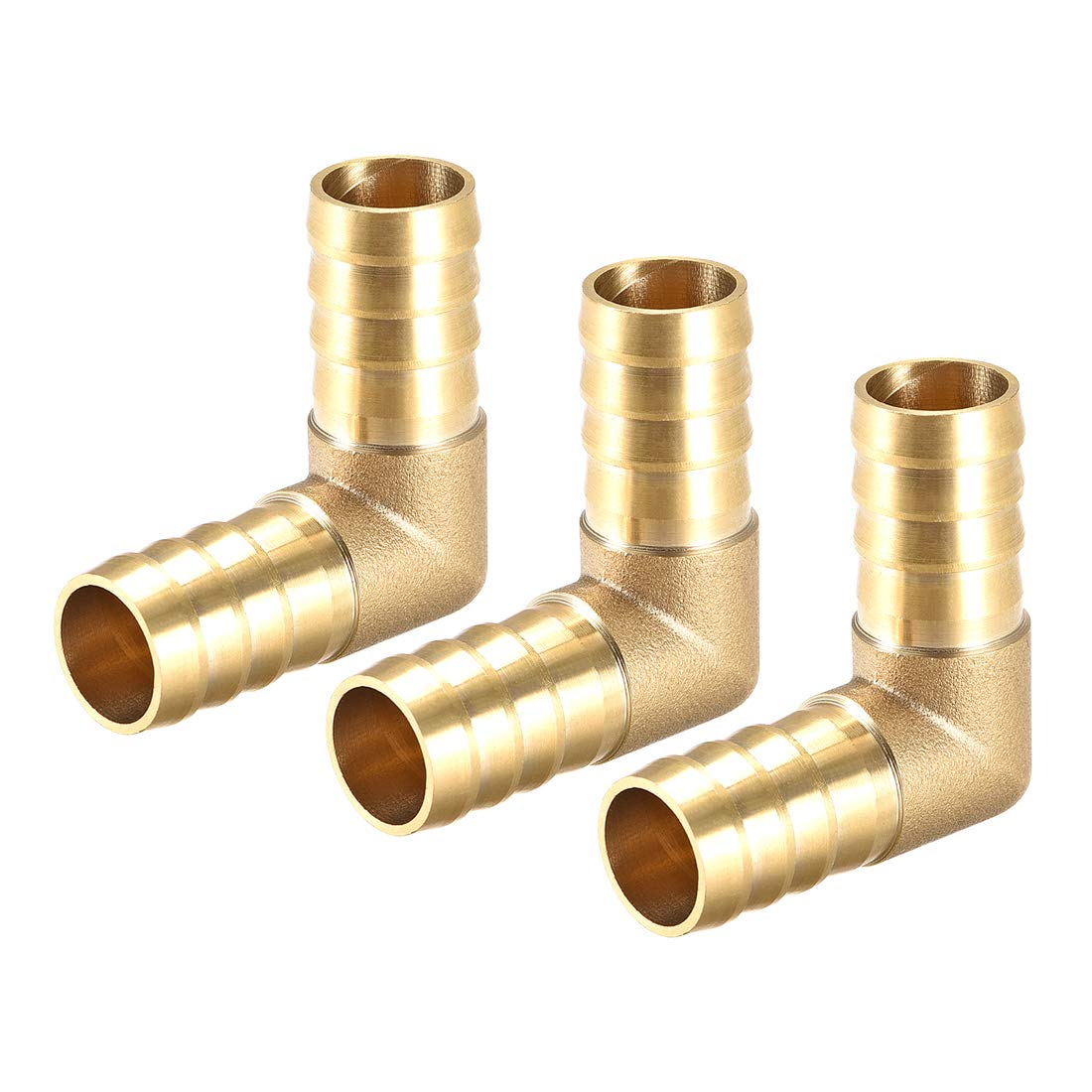 uxcell 16mm Barb Brass Hose Fitting 90 Degree Elbow Pipe Connector Coupler Tubing Adapter 3pcs