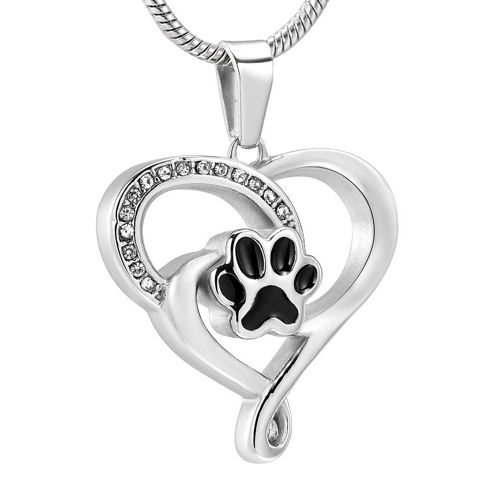 GLEENECKLAC Black dog paws in my heart cremation pendant ash pet loss commemorative pendant necklace by GLEENECKLAC
