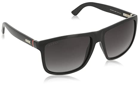 c55721f01f Image Unavailable. Image not available for. Colour  Gucci Sporty Square  Sunglasses in Shiny Black GG 1075 NS D28 57 57 Gradient Grey