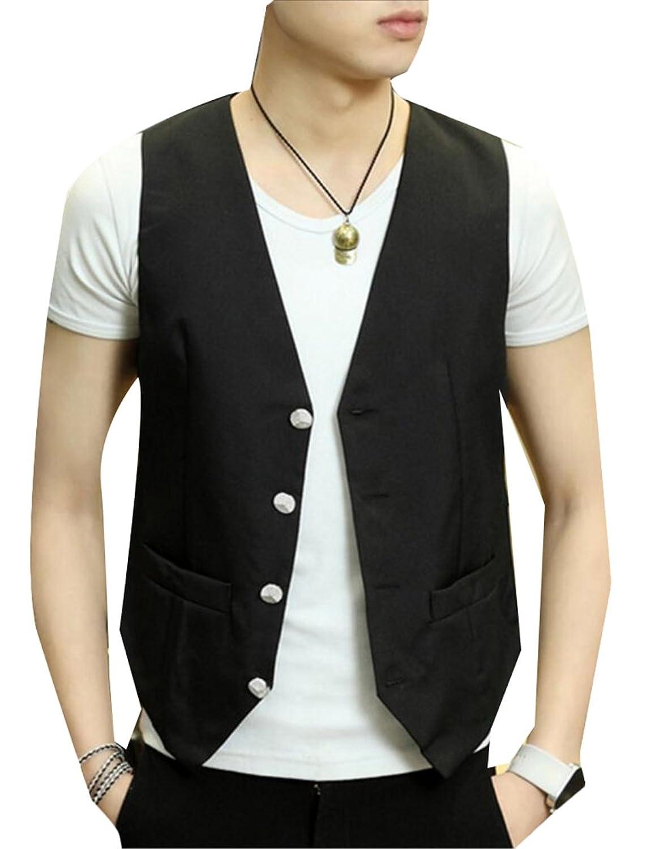 cdb28727d5 delicate WSPLYSPJY Men's Slim Fit Summer Waistcoat Buttons Pocket Suit Vest