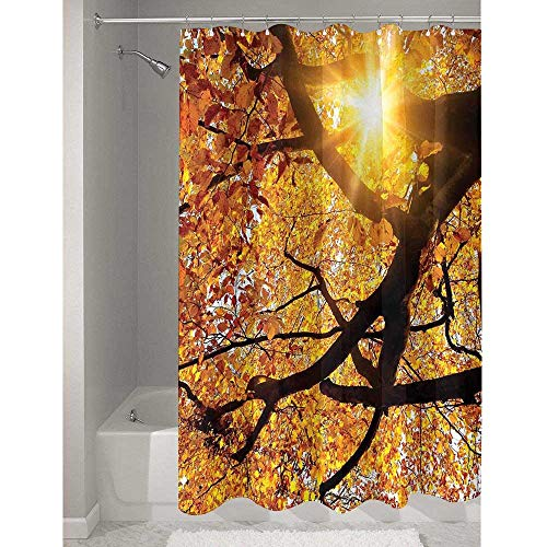 DouglasHill Nature Affordable Polyester Shower Curtain Sun Through Leaf Golden Color Vivid October Foliage Harvest Serene Paradise Photo Art Easy to Maintain and Durable W72 x L79 Inch Orange
