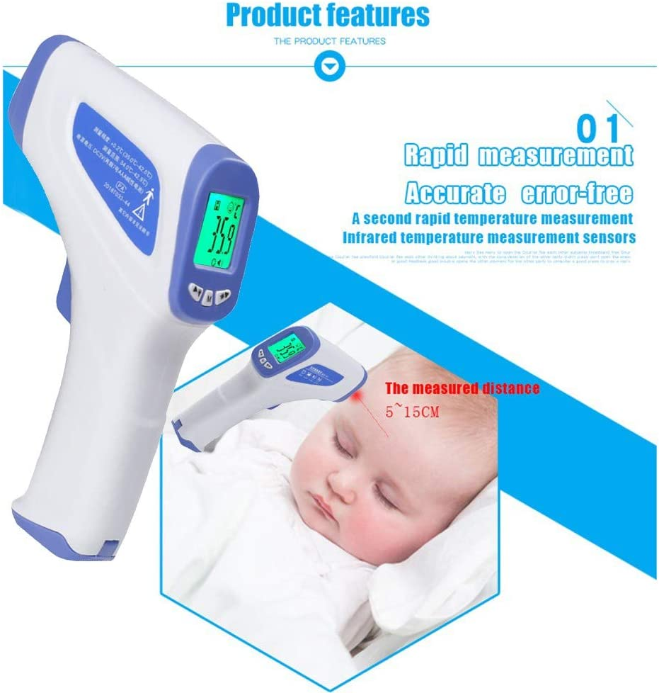 White Professional Medical Thermometer Portable Infrared Digital Thermometer Baby Thermometer for Fever Ear and Body Surface Non-Contact Forehead Thermometer for Adults and Kids