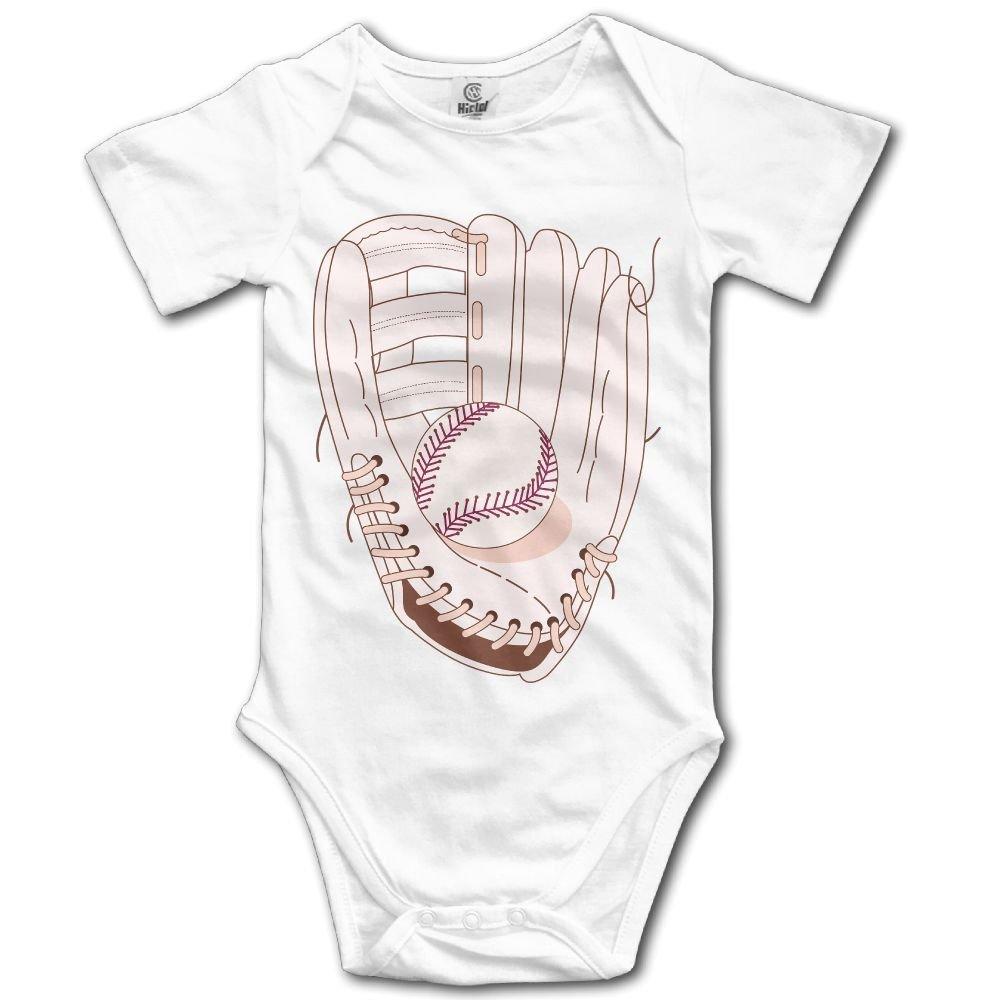 Jaylon Baby Climbing Clothes Romper Baseball Glove Illustration Infant Playsuit Bodysuit Creeper Onesies White