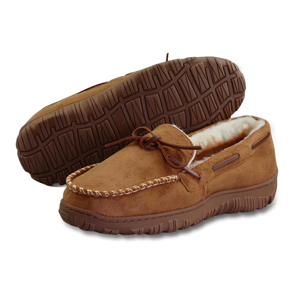 LA PLAGE Mens Slippers Indoor/Outdoor Plush Lining Moccasin Microsuede Slip On House Shoes 13 US Brown