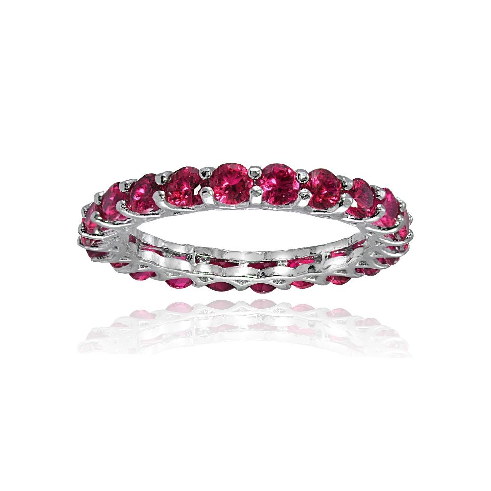 Sterling Silver Created Ruby 3mm Round-cut Eternity Band Ring, Size 6