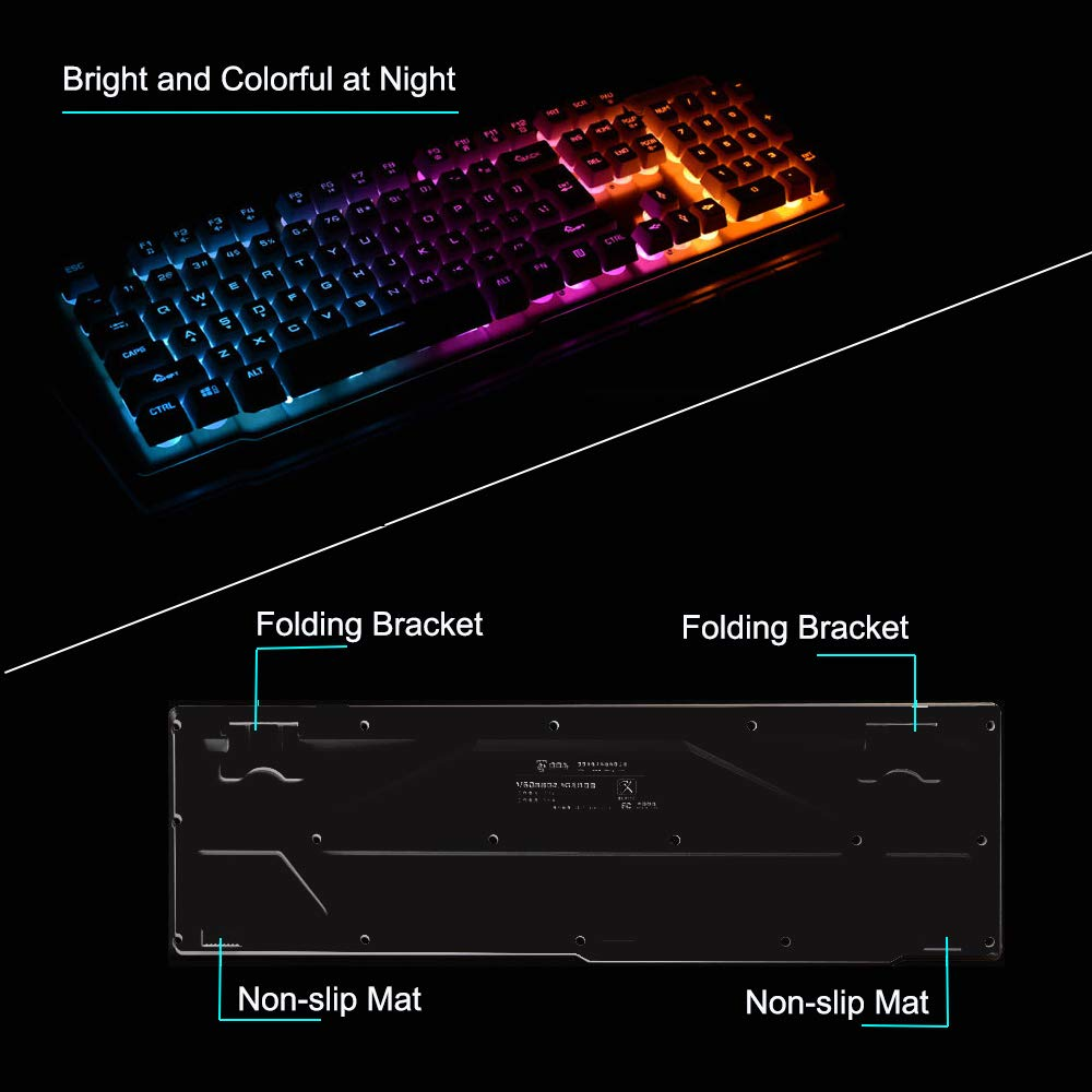 LexonElec Keyboard and Mouse Combo,Wireless 2.4G Technology,1000mAhLarge Capacity,Suspended Keycap Mechanical Feel Backlit Gaming Keyboard Mouse-Fast Charging,Anti-ghosting Black