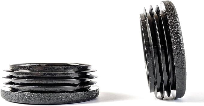 Hecho en Alemania Negro, 48mm de di/ámetro, Paquete de 4 Tapas de Pl/ástico Inserte Los Tapones Para Tubos Redondos