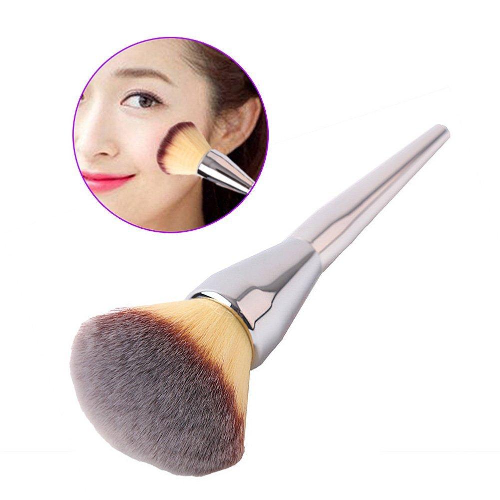 Hrph Gesichts-Make-up Rouge Powder-Silber-Farben-Handgriff Kosmetik Große Make Up Pinsel