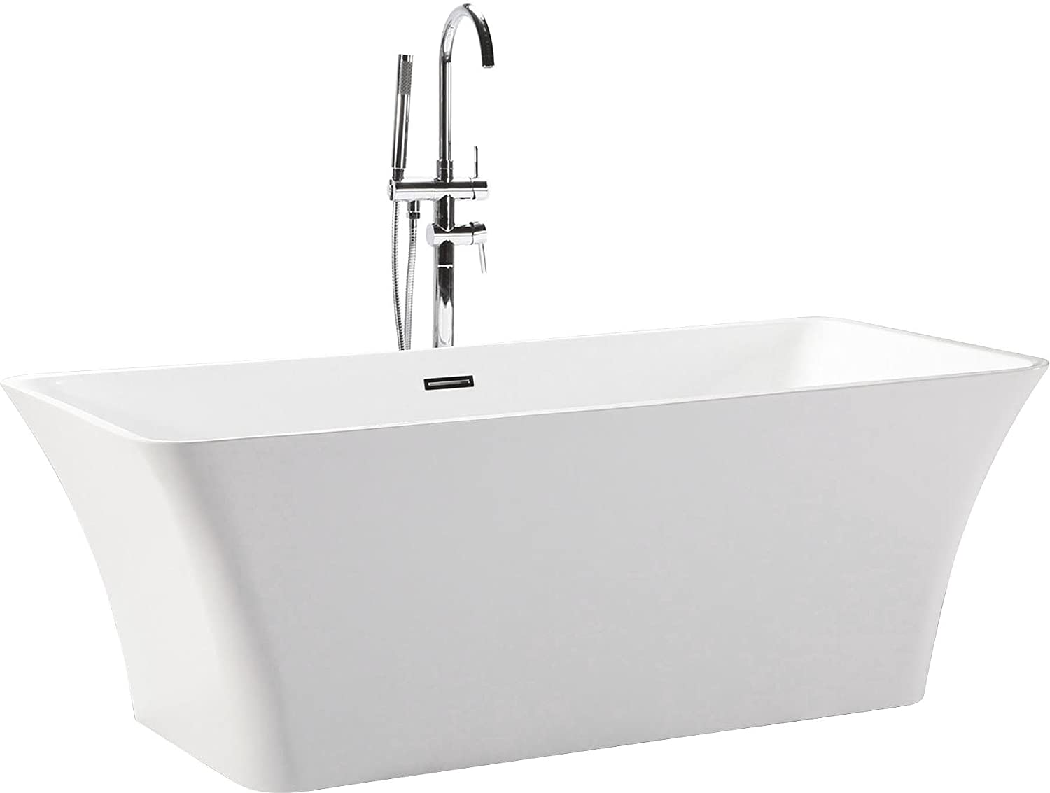 Kardiel HB-BT-PARVA-59-RO HelixBath Parva Freestanding Acrylic Bathtub, 59 , Whiterectangle Overflow