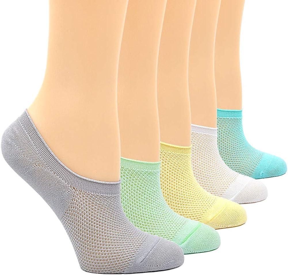 CHUNG Little Girls Thin Half-Mesh Low Cut Cotton Socks Summer No Show 5 Pack