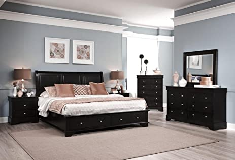 Avalon 5 Piece King Low Profile Storage Bedroom Set In Dark Java Finish