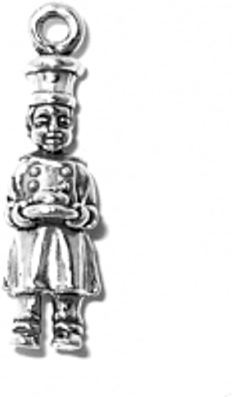 Sterling Silver 3D Kitchen Baker Man Or Woman Cooking Dangle Charm Bead For Bead Charm Bracelet