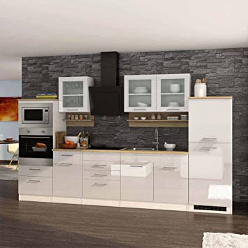 Pharao24 Hochglanz Küche in Weiß Eiche Sonoma E-Geräte: Amazon.de ...