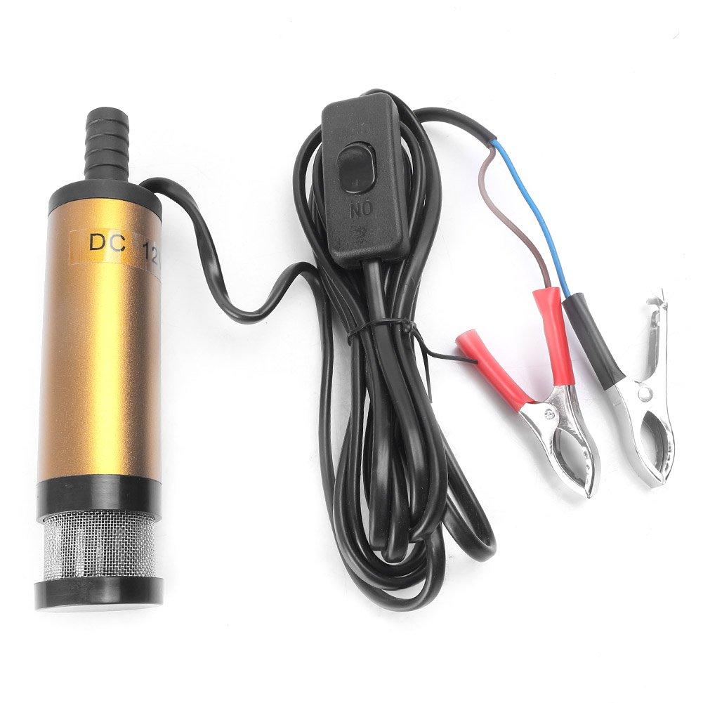Newsmarts 1 x 12V 38mm Water Oil Diesel Pump DC Fuel Tranfer Submersible Pump Gold