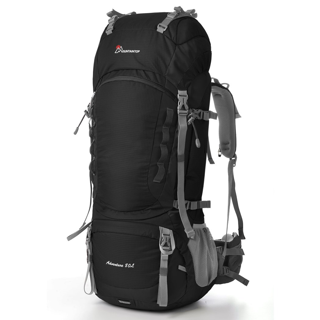 MOUNTAINTOP 80L Outdoor Sport Water-Resistant Internal Frame Backpack Hiking Backpack Backpacking Trekking Bag with Rain Cover YKK Buckle for Climbing Camping Travel and Mountaineering 5820II (Black) by MOUNTAINTOP