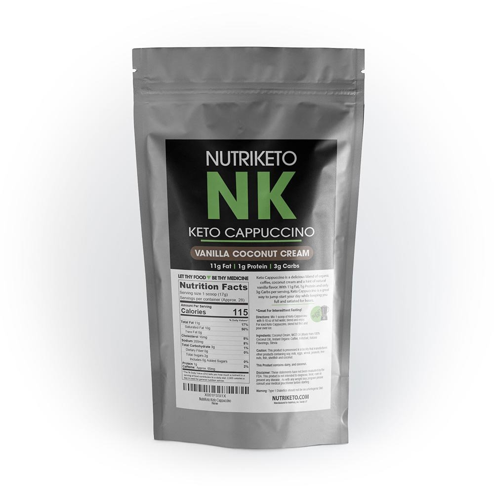 NutriKeto Keto Cappuccino - Vanilla Coconut Cream - Low Carb/High Fat (LCHF) - Ketogenic Diet - 30 Servings by NutriKeto