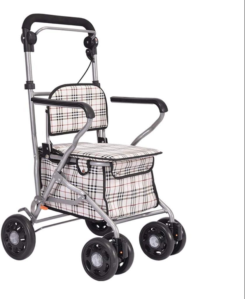 Carro de la compra de comestibles plegable para trabajo pesado con pasamanos y ruedas de seguridad, Drive Medical Walker con cesta y frenos, carro con ruedas Con respaldo plegable extraíble y asiento