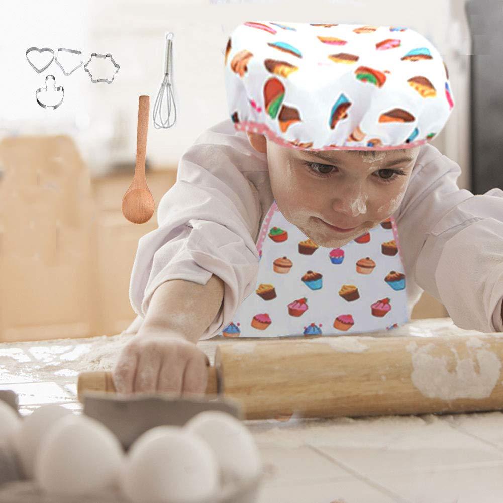 Kochm/ütze und Kochhandschuh /& Backutensilien Harddo 11tlg Kinder Backformen Set K/üchen Kochspielset mit Sch/ürze f/ür M/ädchen und Jungen Kinder Kochset