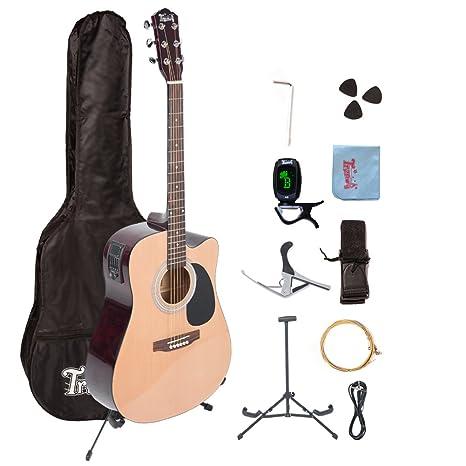 Trendy 41 cm tamaño completo con 6 cuerdas principiantes de guitarra acústica con clip-on