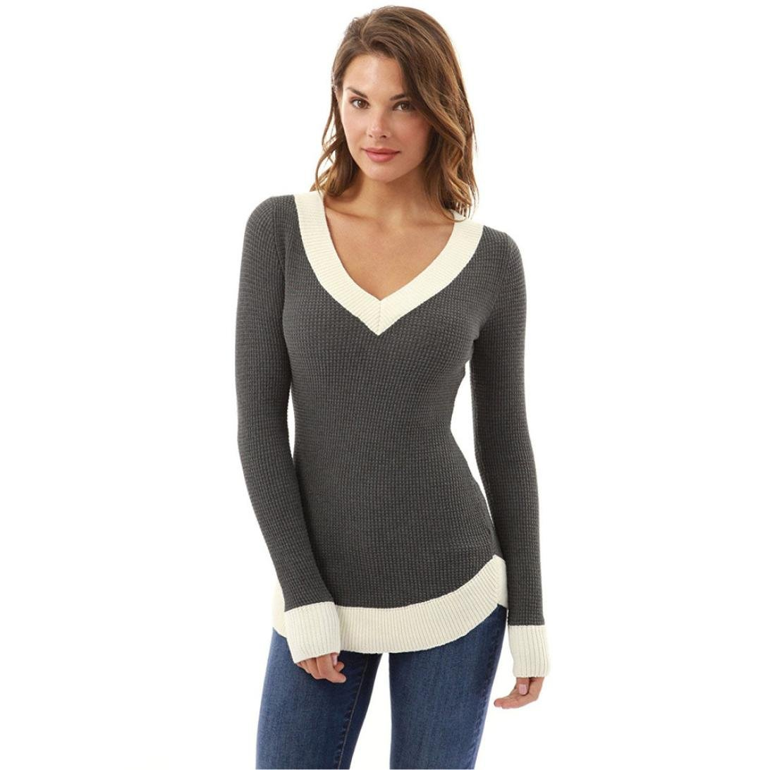 KaiCran Fashion Sweater For Womens Sexy V Neck Sweater Pullover Top For Lady Long Sleeve Sweater (Gray, Small)