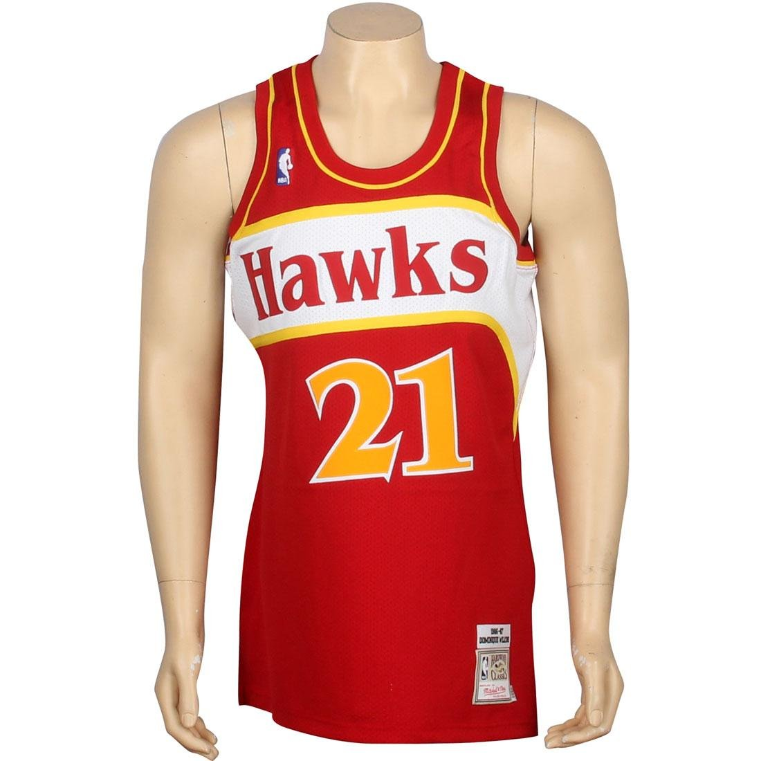 640205be7 Amazon.com   Mitchell   Ness Dominique Wilkins Atlanta Hawks Authentic 1986  Red NBA Jersey   Sports   Outdoors