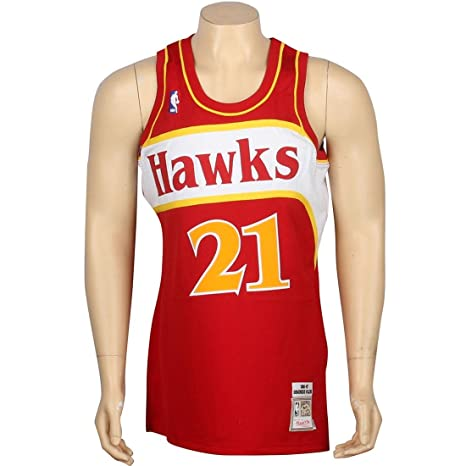 44bf69a3f Image Unavailable. Image not available for. Color: Mitchell & Ness  Dominique Wilkins Atlanta Hawks Authentic 1986 Red NBA Jersey