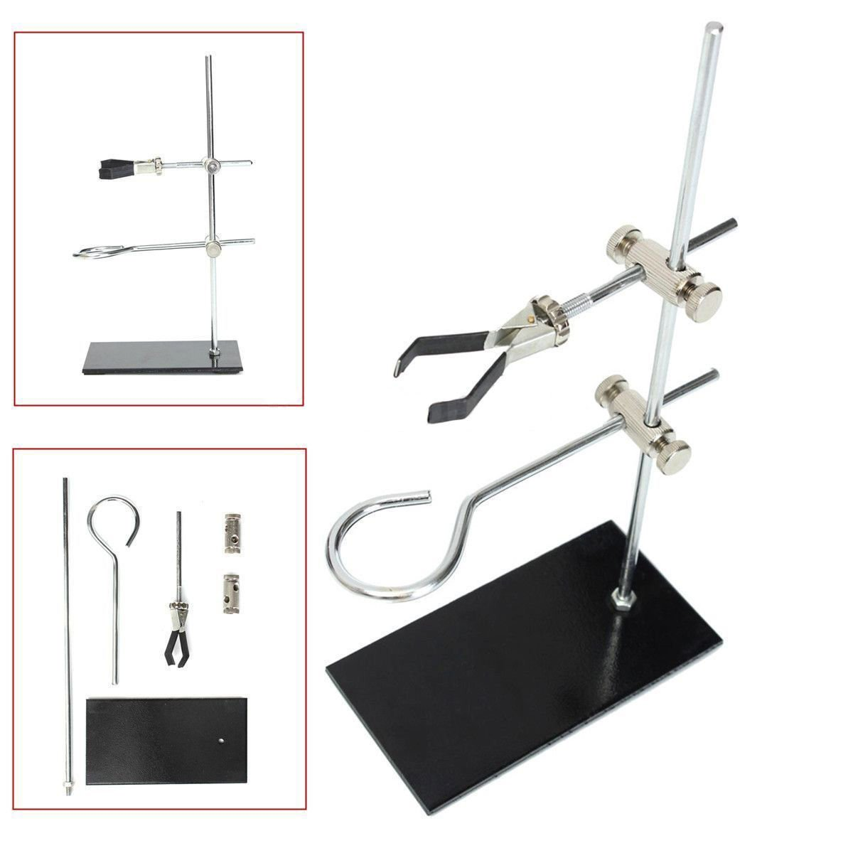 lieomo Mini High Retort Stands Metal Support Clamp Flask Laboratory Stand Set 30CM