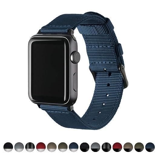 Archer Watch Straps | Repuesto de Correa de Reloj de Nailon para Apple Watch, Hombre y Mujer | Azul Marino/Negro, 42mm: Amazon.es: Relojes