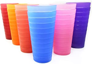 Unbreakable 32-ounce Plastic Tumbler Drinking Glasses, Set of 12 Multicolor - Dishwasher safe, BPA Free