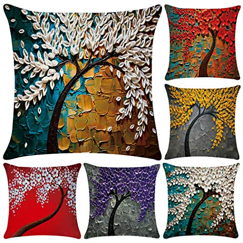 Oil Painting Print Polyester Throw Pillow Case Cushion Cover Home Sofa Decorative 18 X 18 Inch (6 Pack Pillow Case) (Covers Decorative Pillows)