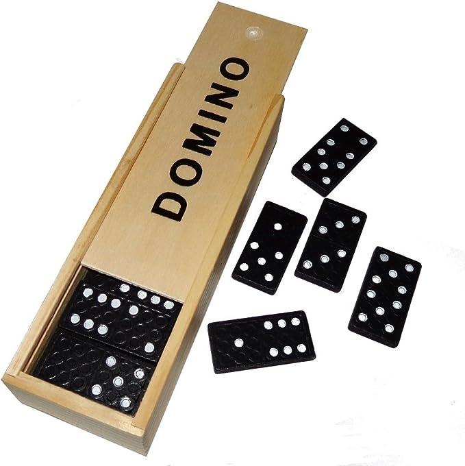 Dominospiel 28 Dominosteine in Holzbox Domino Spiel Домино Gedächtnistraining