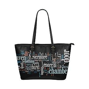 Women's Leather Large Tote HandBag Words Shoulder Bag