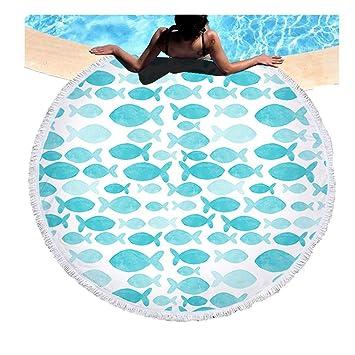 Toalla de Playa Redonda de Microfibra Borla Serie Marina Toalla Tapiz Infantil Toalla de Picnic Manta de Verano,Toalla de Baño de Dibujos Animados, ...