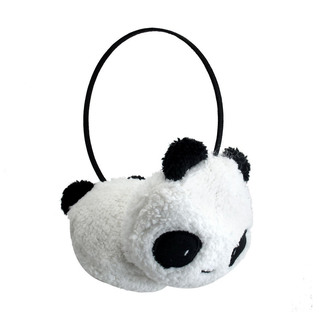 BUYEONLINE Girls Black White Small Panda Design Pad Fluffy Ear Warmer Earmuffs