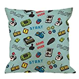 HGOD DESIGNS Gamer Pillow Covers,Decorative Throw Pillow Video Game and Game Handle Pattern Pillow cases Cotton Linen Outdoor Indoor Square Cushion Covers For Home Sofa couch 18x18 inch Light Blue