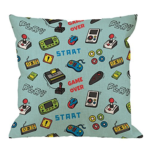 Video Game Case Covers (HGOD DESIGNS Gamer Pillow Covers,Decorative Throw Pillow Video Game and Game Handle Pattern Pillow cases Cotton Linen Outdoor Indoor Square Cushion Covers For Home Sofa couch 18x18 inch Light Blue)