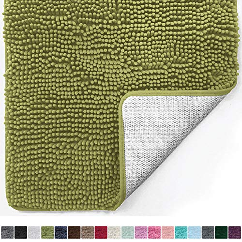 Gorilla Grip Original Luxury Chenille Bathroom Rug Mat (44 x 26), Extra Soft and Absorbent Large Shaggy Rugs, Machine Wash/Dry, Perfect Plush Carpet Mats for Tub, Shower, and Bath Room (Green)