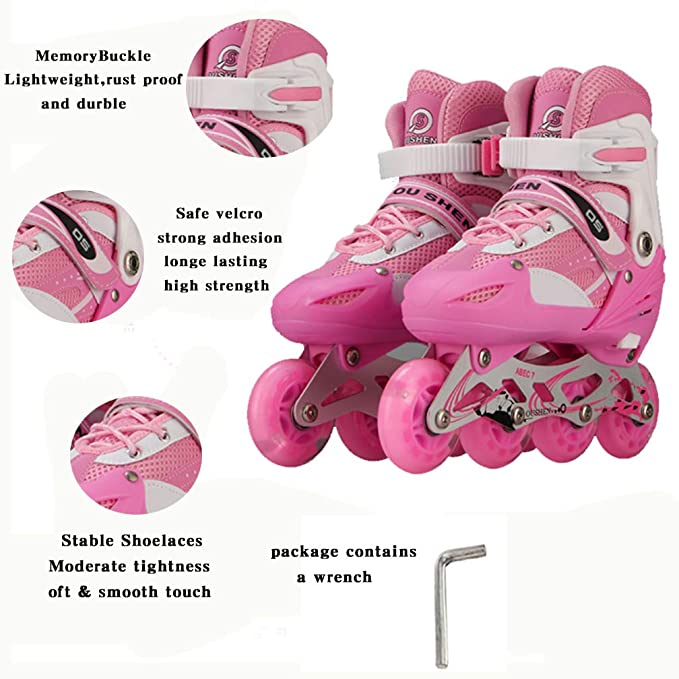 DSFGHE Glowing Wheels Misty II Kids and Adult Rollerblades