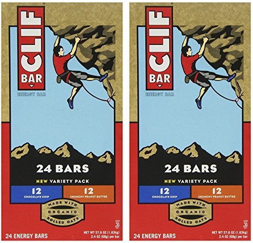 Clif Bar Variety Pack, Chocolate Chip, Crunchy Peanut Butter, 2.4 oz. Nutrition Bars (48 Count)