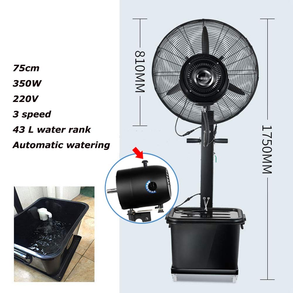 JIAYUAN Fan Oscillating Outdoor Misting Fan with 3 Speed,90° Oscillating,Automatic Watering for Cooling Patios, Pool Sides, Gardens, Worksites and Decks 260W,350W (Size : 71CM-260W) by JIAYUAN