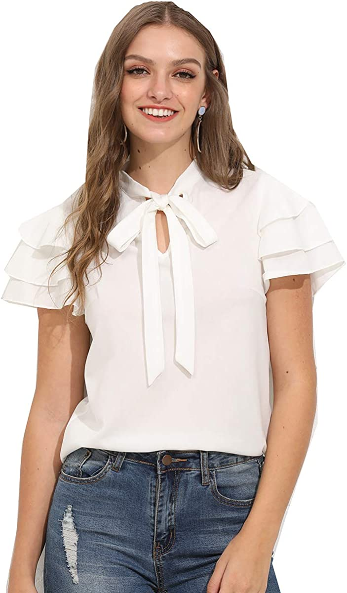 Romwe Women's Stretchy Short Sleeve Layered Bow Tie Neck Work Office Blouse Shirt Top